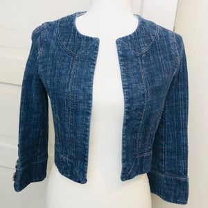 Ann Taylor LOFT Tailored Crop Jean Jacket Size 2